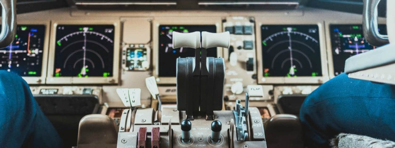 A view of the cockpit in an airplane