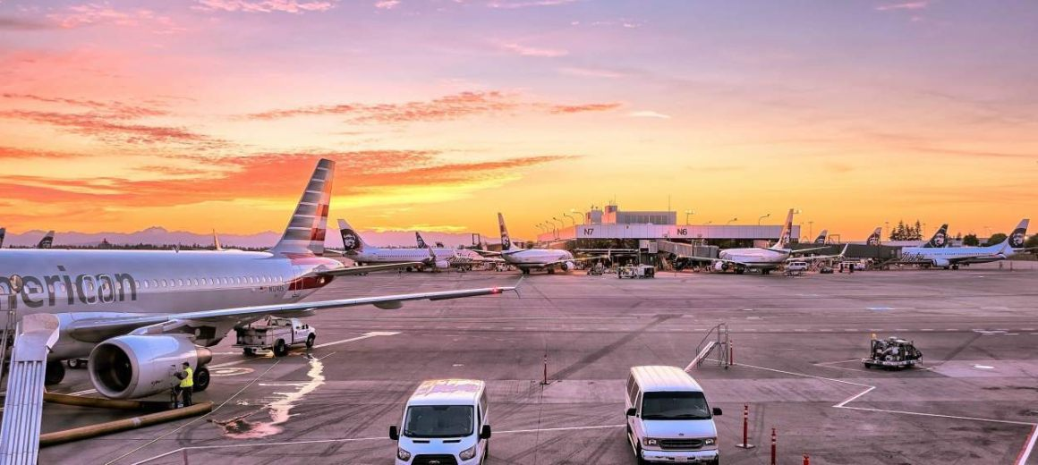 An airport in the early morning