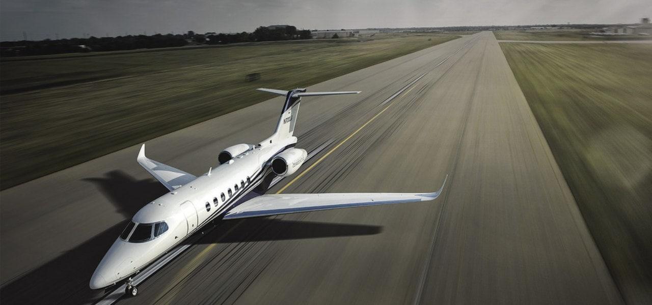 Citation Longitude taking off on the runway