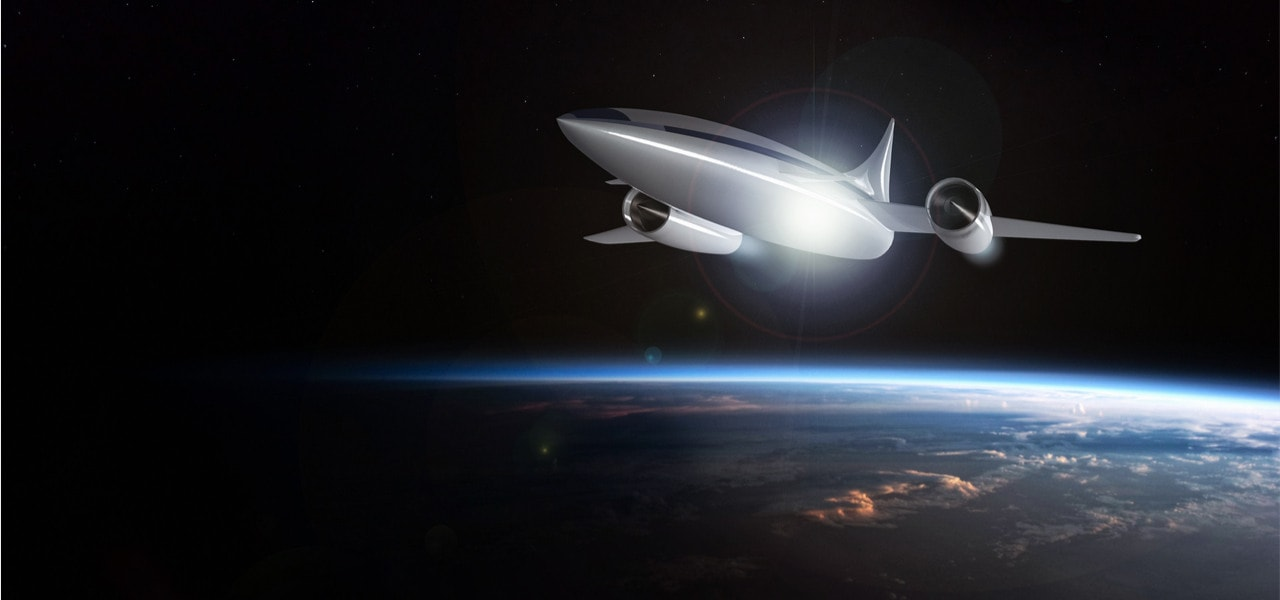 The concept of a futuristic hypersonic passenger aircraft flying in the stratosphere