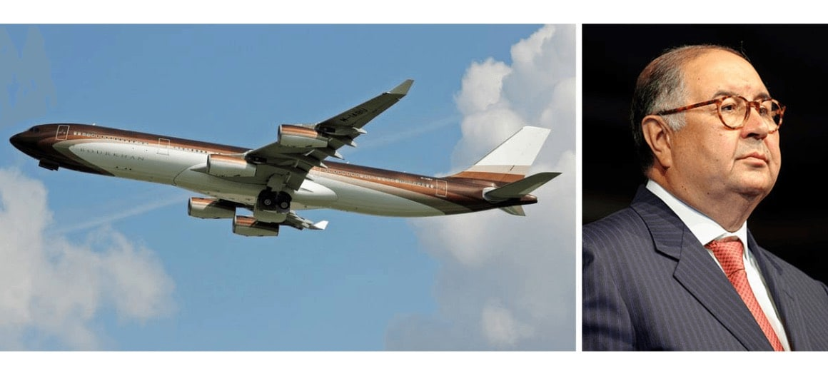 Alisher Usmanov featured alongside his private aircraft