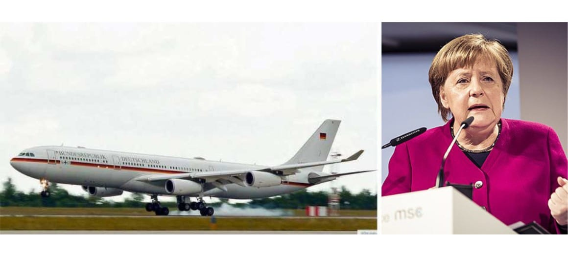 Angela Merkel featured alongside her private aircraft