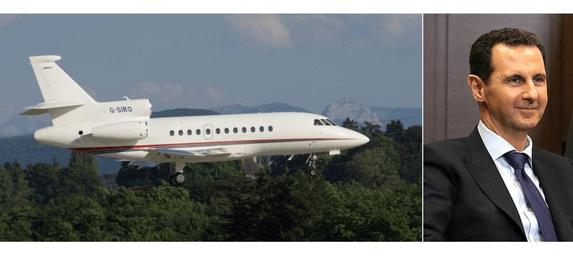 Bashar al-Assad featured alongside his private aircraft