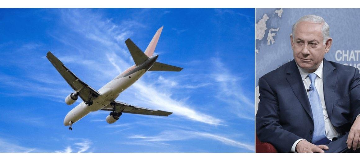 Benjamin Netanyahu featured alongside his private aircraft