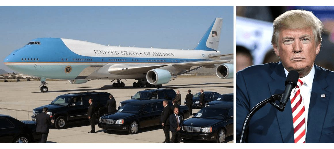 Donald Trump featured alongside his private aircraft