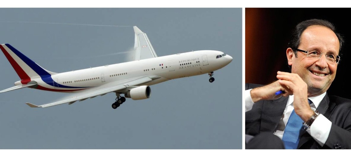François Hollande featured alongside his private aircraft