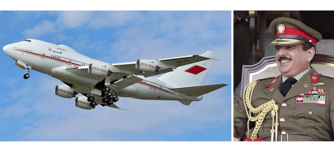 Hamad bin Isa Al Khalifa featured alongside his private aircraft
