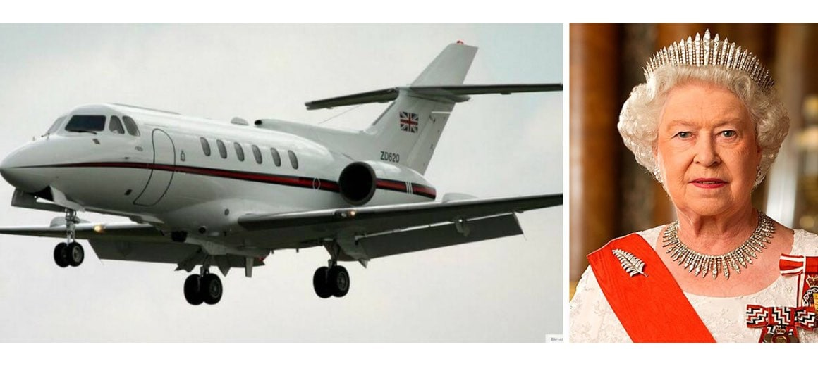 Queen Elizabeth II featured alongside her private aircraft