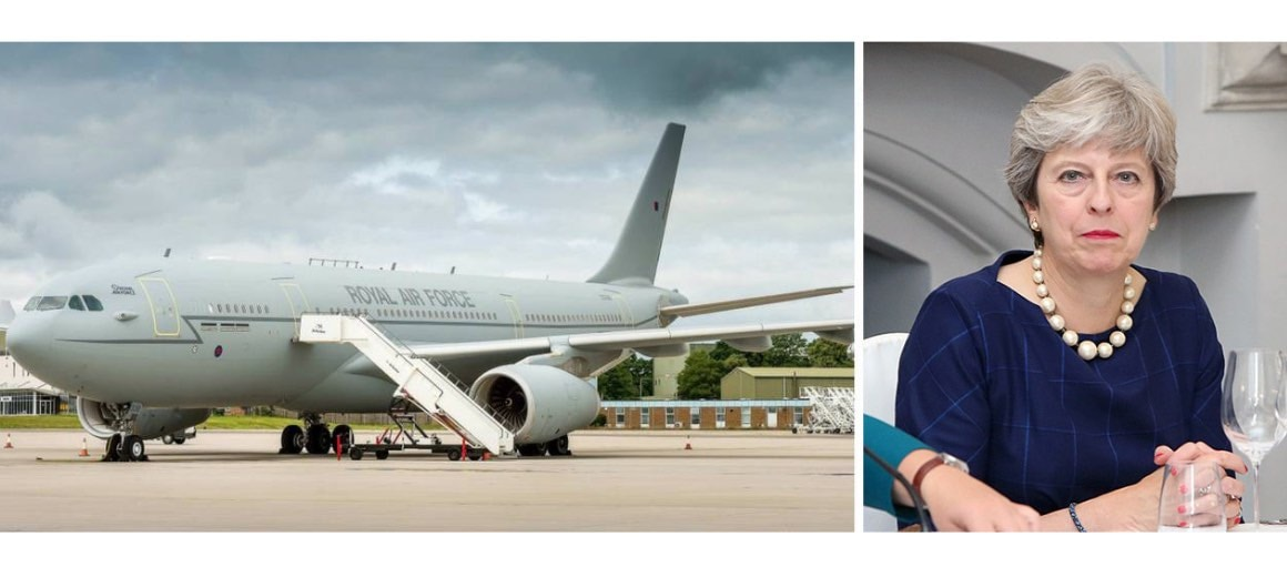 Theresa May featured alongside her private aircraft