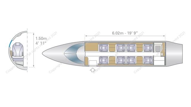 Bombardier Learjet 45 45XR Aircraft Layout