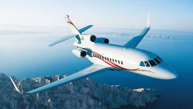 A private jet charter flying in the sky